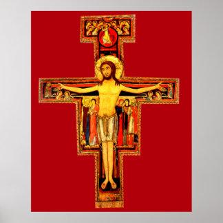 Extra grande vermelha do poster do crucifixo de pôster