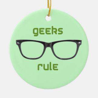 Eyeglasses da regra dos geeks ornamento de cerâmica redondo