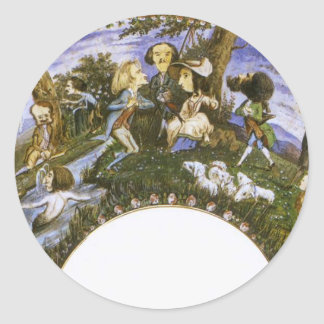 Fã com caricaturas por Eugene Delacroix Adesivo