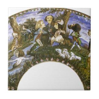 Fã com caricaturas por Eugene Delacroix Azulejo Quadrado Pequeno