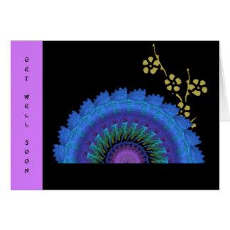 Fã do Fractal e flores de papel queimadas Cartão Comemorativo