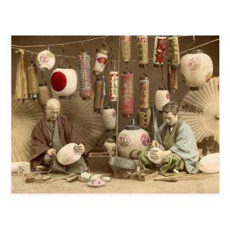 Fabricantes japoneses da lanterna de papel, foto cartão postal