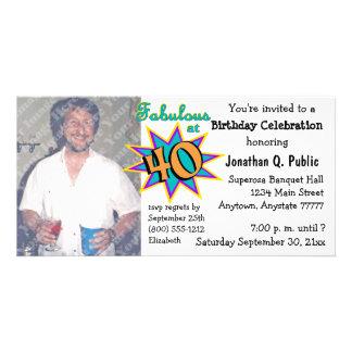 Fabuloso no convite da foto de 40 festas de cartão com foto
