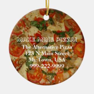 Faça a meus a pizza! Texto customizável Ornamento De Cerâmica Redondo