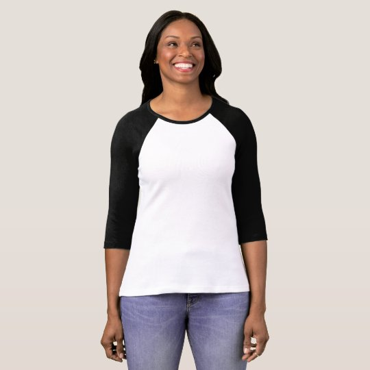 Camiseta feminina mangas raglan 3/4 da Bella+Canvas, Branco/Preto