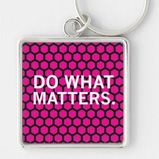 """""""Faça que matérias"""" no teste padrão cor-de-rosa do Chaveiro Quadrado Na Cor Prata"""