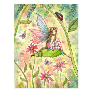 Fada bonito da flor e arte da fantasia do joaninha cartoes postais