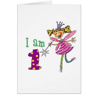 Fada cor-de-rosa da princesa idade 1 cartao