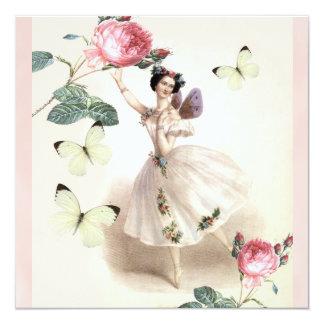 Fada da bailarina convite quadrado 13.35 x 13.35cm