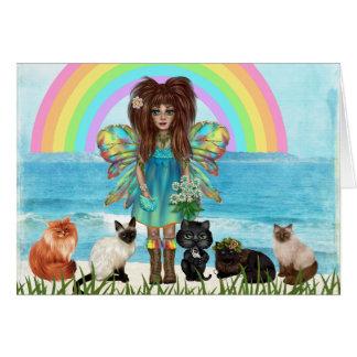 Fada e gatos todo o cartão da ocasião