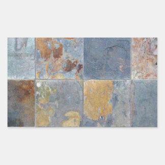 Faded que lasca azulejos alaranjados azuis do adesivo retangular