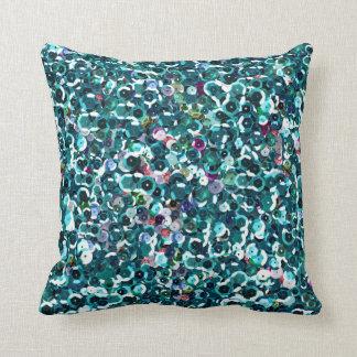 Faísca azul bonita Bling dos Sequins Almofada