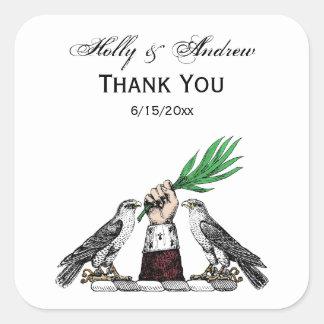 Falcons heráldicos do vintage com o emblema da adesivo quadrado