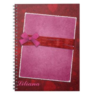 Falso cor-de-rosa e caderno vermelho do álbum de