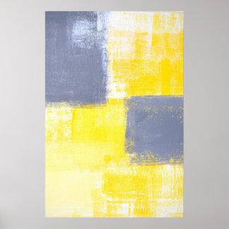 """""""Faltando"""" a arte abstracta cinzenta e amarela Poster"""