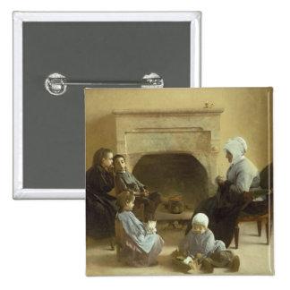 Família assentada em torno de uma lareira bóton quadrado 5.08cm