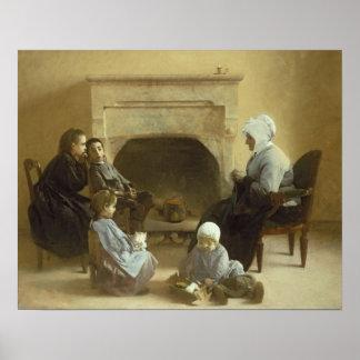 Família assentada em torno de uma lareira poster