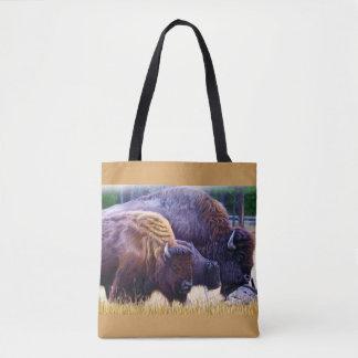 Família do bisonte americano bolsas tote