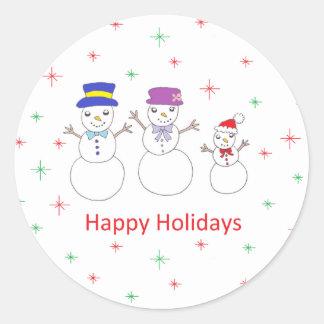 Família do boneco de neve boas festas adesivo
