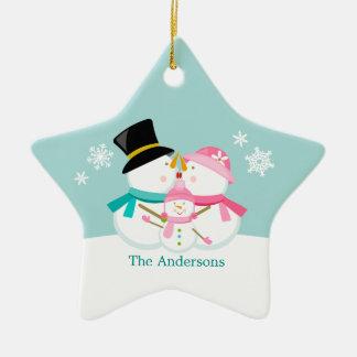 Família do boneco de neve de três feriados do ornamento de cerâmica