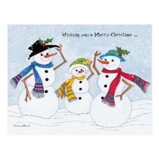 Família do boneco de neve do Feliz Natal Cartão Postal
