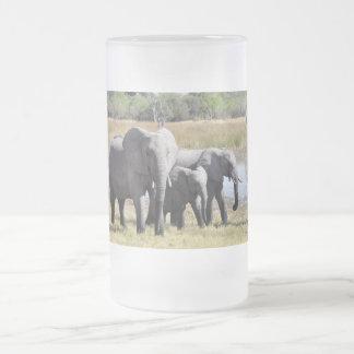 Família do elefante caneca de cerveja vidro jateado