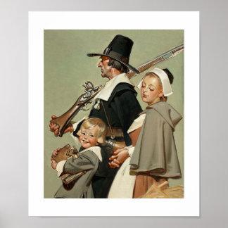 Família do peregrino. Poster das belas artes