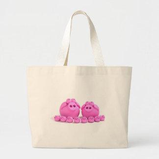 Família do porco bolsa de lona