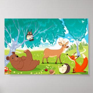 Família dos animais na madeira poster