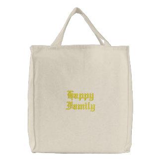 Família feliz bolsa tote bordada