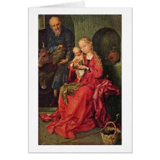 Família santamente por Martin Schongauer Cartão Comemorativo