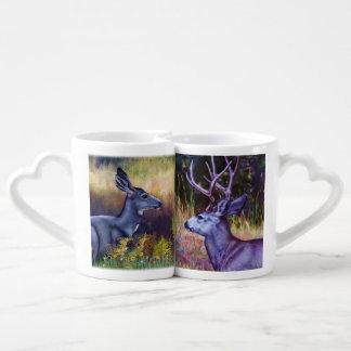 Fanfarrão e gama dos cervos de mula conjunto de caneca de café