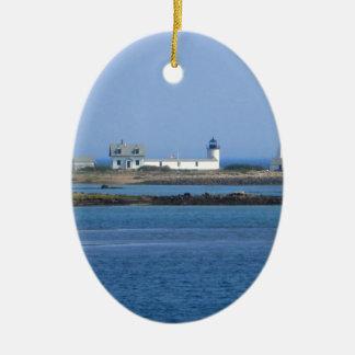 Farol da ilha da cabra ornamento de cerâmica oval