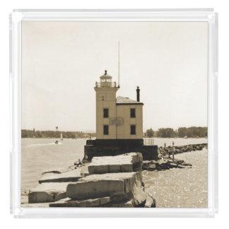 Farol do Lago Erie Bandeja De Acrílico