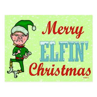 Farsa Elfin alegre engraçada de Bah do Natal Cartões Postais