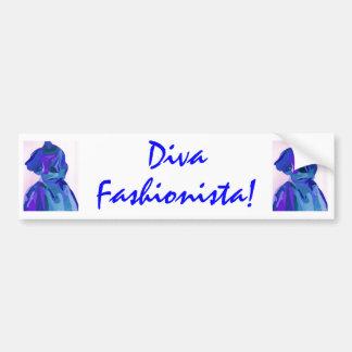 Fashionista da diva no azul mim adesivos