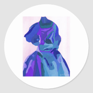 Fashionista da diva no azul mim adesivos redondos