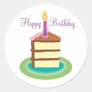 Fatia de etiquetas do bolo de aniversário do adesivo