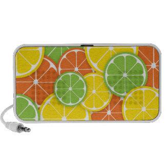Fatias alaranjadas do limão do limão do citrino co caixinhas de som de viagem