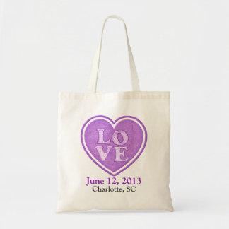 Favor da sacola do convidado do casamento do amor sacola tote budget