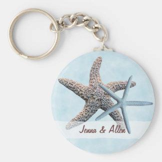 Favor das estrelas de mar com nomes chaveiro