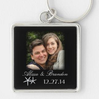 Favor do anel chave da foto do casamento do chaveiro quadrado na cor prata