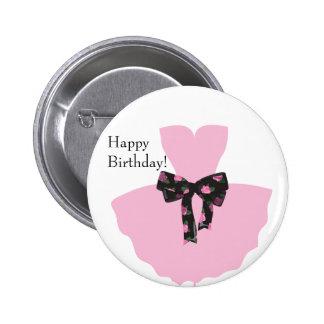 Favor do botão do feliz aniversario do rosa da bóton redondo 5.08cm