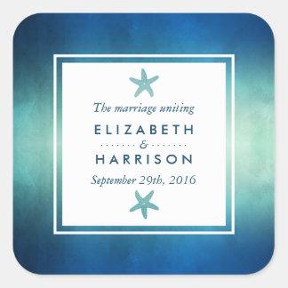 Favor do casamento de praia da estrela do mar do adesivo quadrado