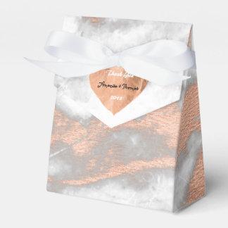 Favor do casamento do coração cor-de-rosa do cobre caixinha de lembrancinhas