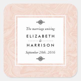 Favor elegante marmoreado do casamento vintage do adesivo quadrado