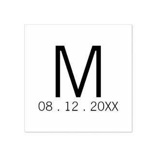 Favor moderno do casamento do monograma carimbo de borracha