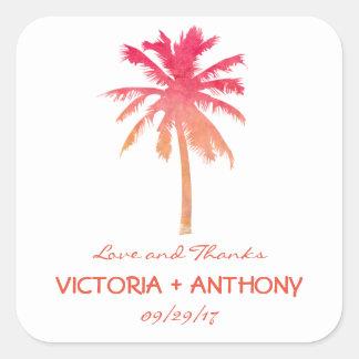 Favor tropical do casamento de praia da palmeira adesivo quadrado