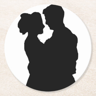 Favores do casamento - silhueta do casal porta-copo de papel redondo