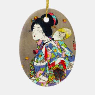 Favoritos de Nobukazu Yosai do amor bonito das Ornamento De Cerâmica Oval